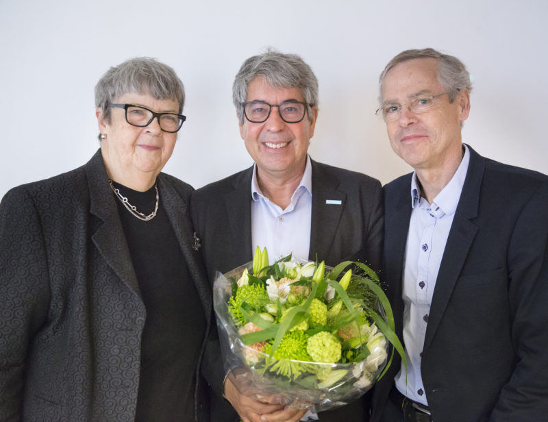 Annoncement of the Marcus Wallenberg Prize 2016, awarded to Federico Giudiceandrea and Alexander Katsevich. Picture: Gunilla Jönson (Charmain of the Selection Commitee), Federico Giudiceandrea and Kaj Rosén, Executive Secretary of the Marcus Wallenberg Foundation. (Photo:  Johan Gunséus)